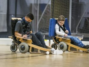 Alex Morrison, 14 (left), and Zach Rayment, 11, are pictured on Volt hockey carts at Variety Village in Toronto on Nov. 20, 2020. PHOTO BY ERNEST DOROSZUK, TORONTO SUN /Toronto Sun